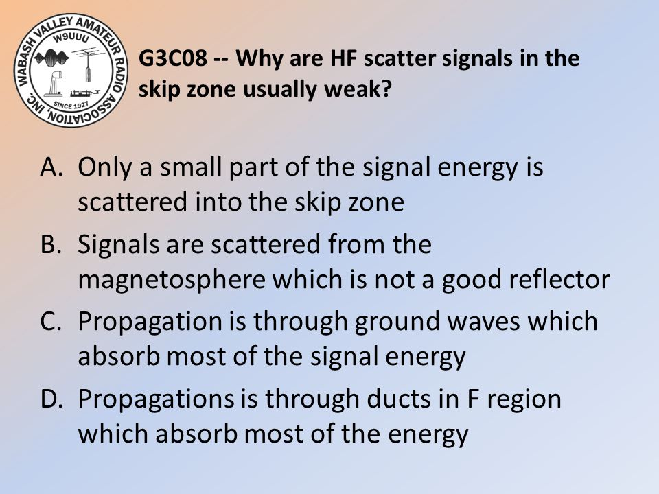 G3C08 -- Why are HF scatter signals in the skip zone usually weak