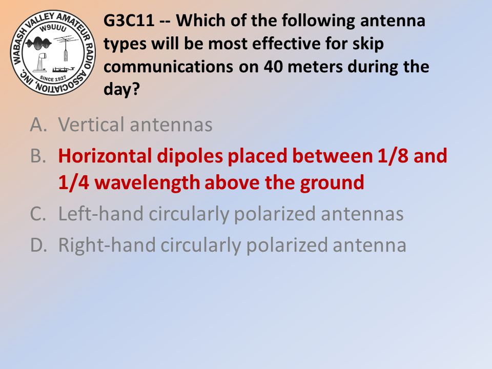 G3C11 -- Which of the following antenna types will be most effective for skip communications on 40 meters during the day