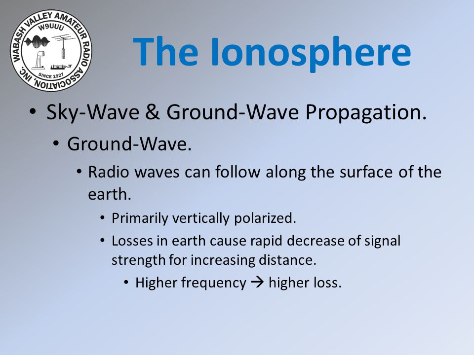 The Ionosphere Sky-Wave & Ground-Wave Propagation. Ground-Wave.