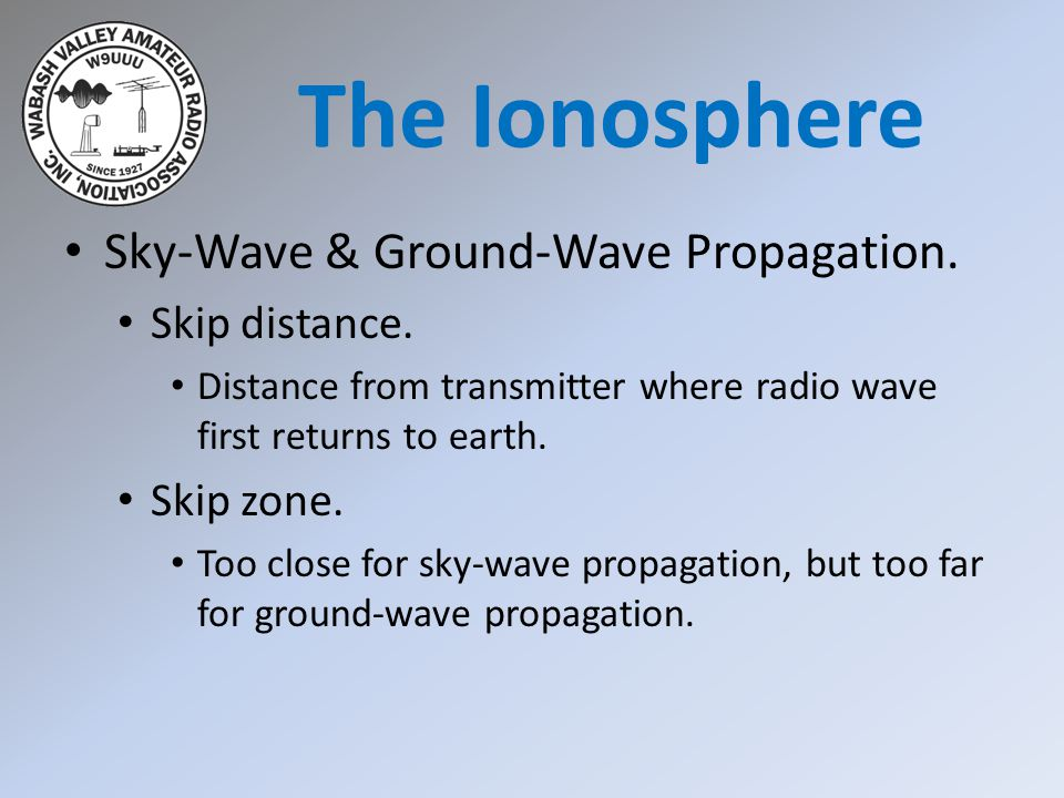The Ionosphere Sky-Wave & Ground-Wave Propagation. Skip distance.
