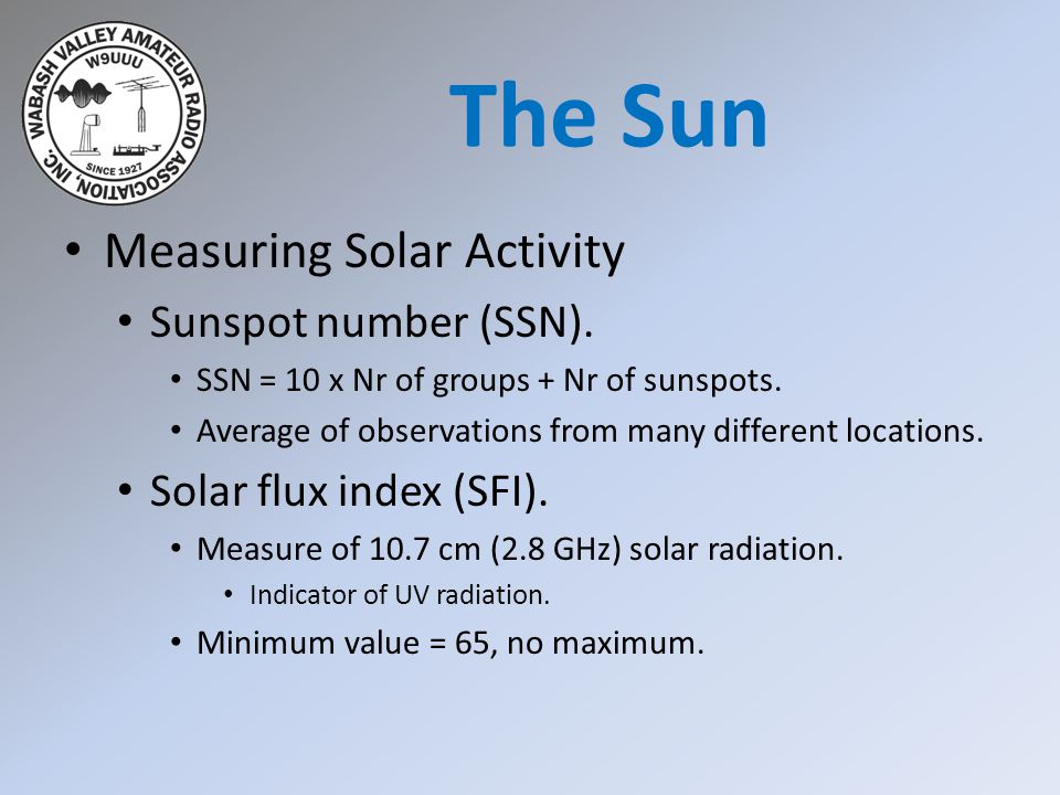 The Sun Measuring Solar Activity Sunspot number (SSN).