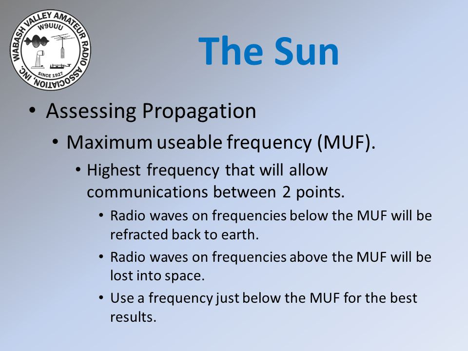 The Sun Assessing Propagation Maximum useable frequency (MUF).