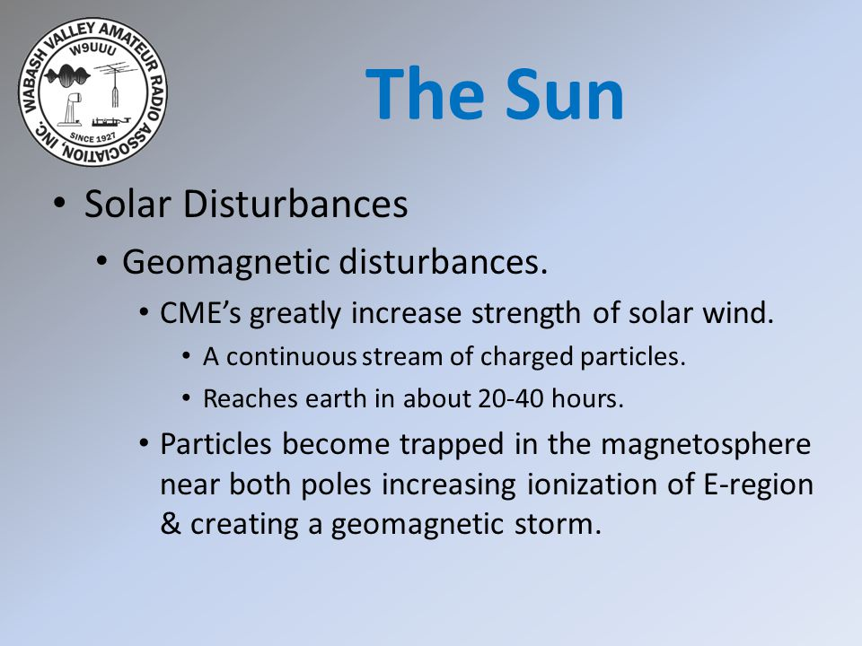 The Sun Solar Disturbances Geomagnetic disturbances.