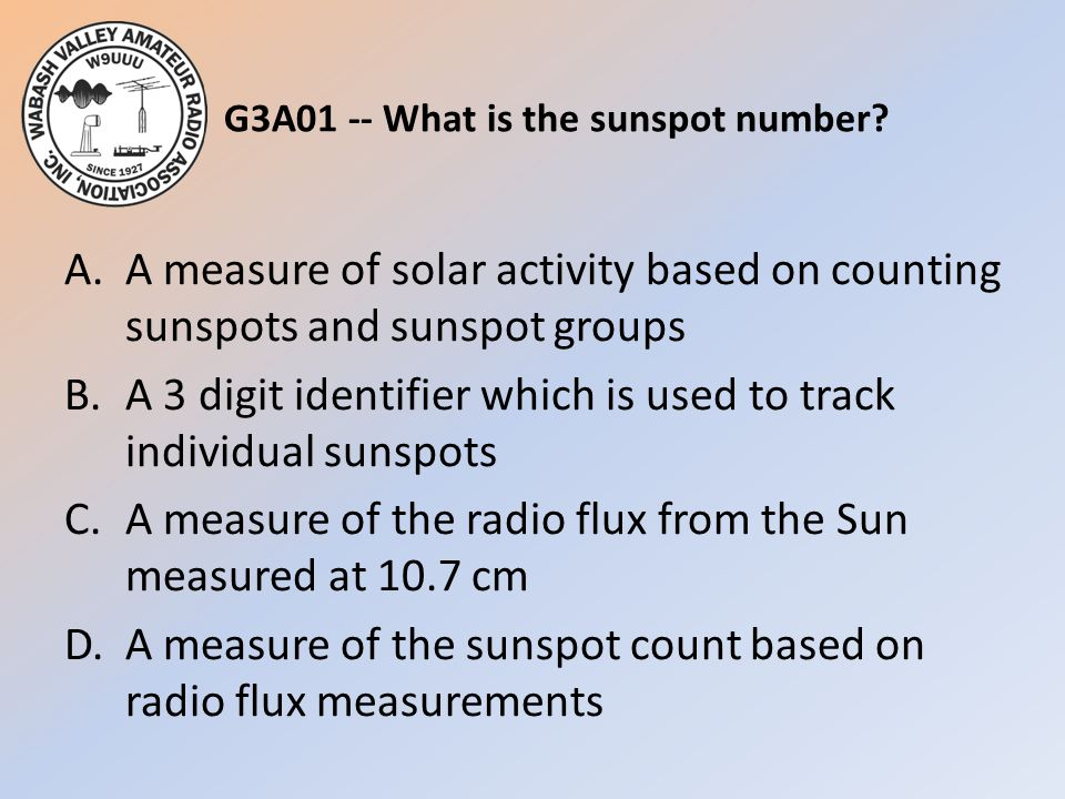 G3A01 -- What is the sunspot number