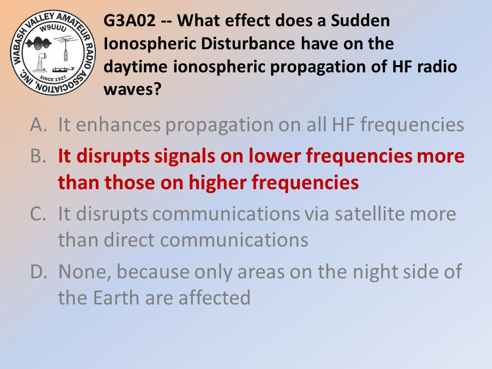 G3A02 -- What effect does a Sudden Ionospheric Disturbance have on the daytime ionospheric propagation of HF radio waves