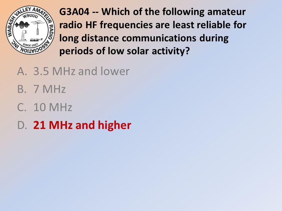 A. 3.5 MHz and lower B. 7 MHz C. 10 MHz D. 21 MHz and higher