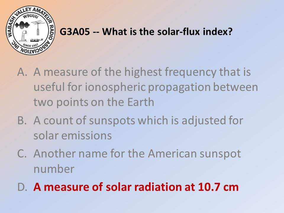 G3A05 -- What is the solar-flux index