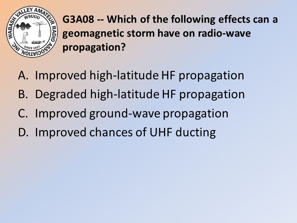 G3A08 -- Which of the following effects can a geomagnetic storm have on radio-wave propagation