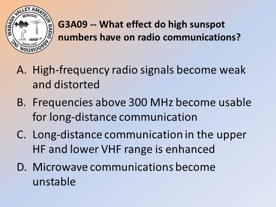 G3A09 -- What effect do high sunspot numbers have on radio communications