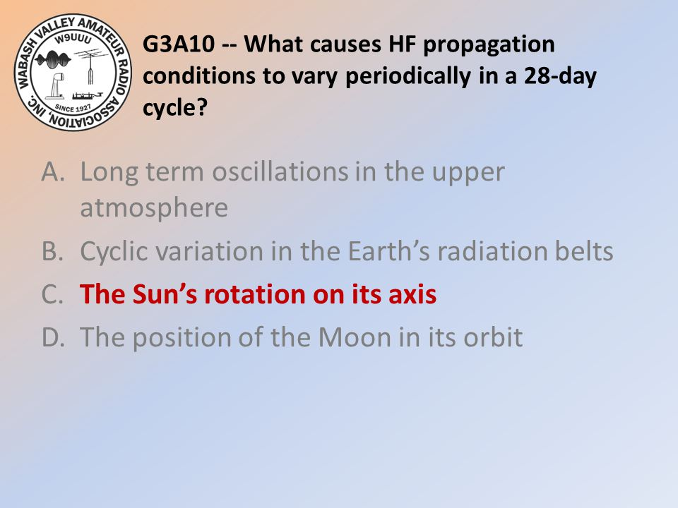 G3A10 -- What causes HF propagation conditions to vary periodically in a 28-day cycle