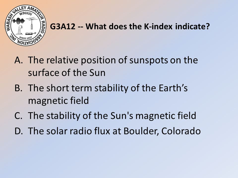 G3A12 -- What does the K-index indicate