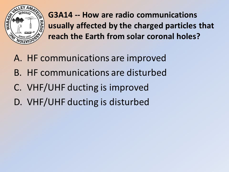 G3A14 -- How are radio communications usually affected by the charged particles that reach the Earth from solar coronal holes