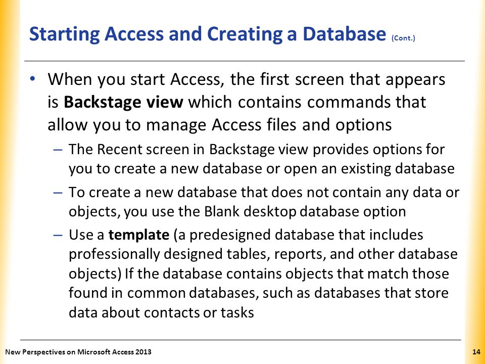 Starting Access and Creating a Database (Cont.)