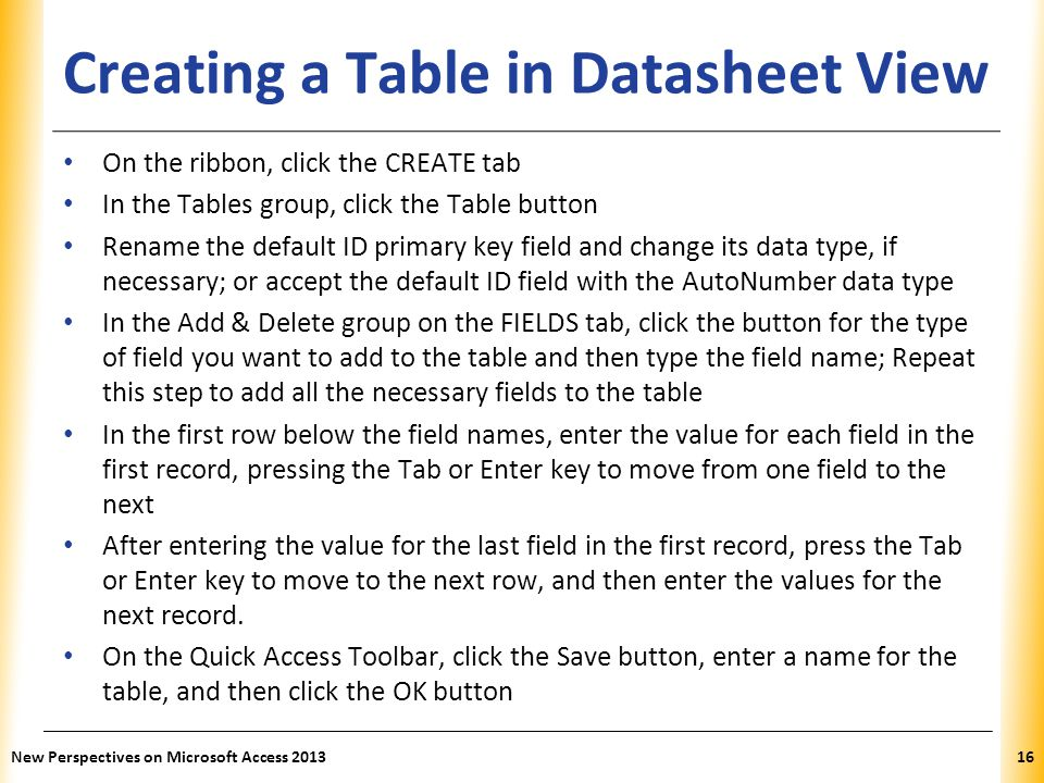 how to create a database in ms access 2007 ppt