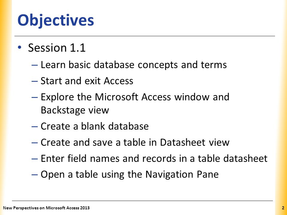 Objectives Session 1.1 Learn basic database concepts and terms