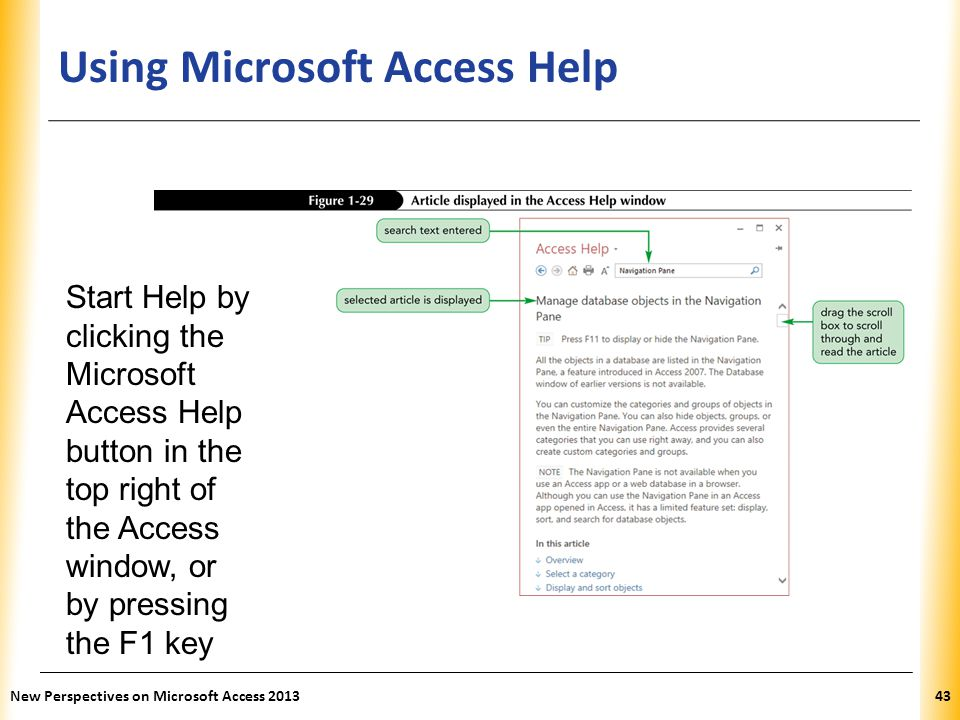Using Microsoft Access Help