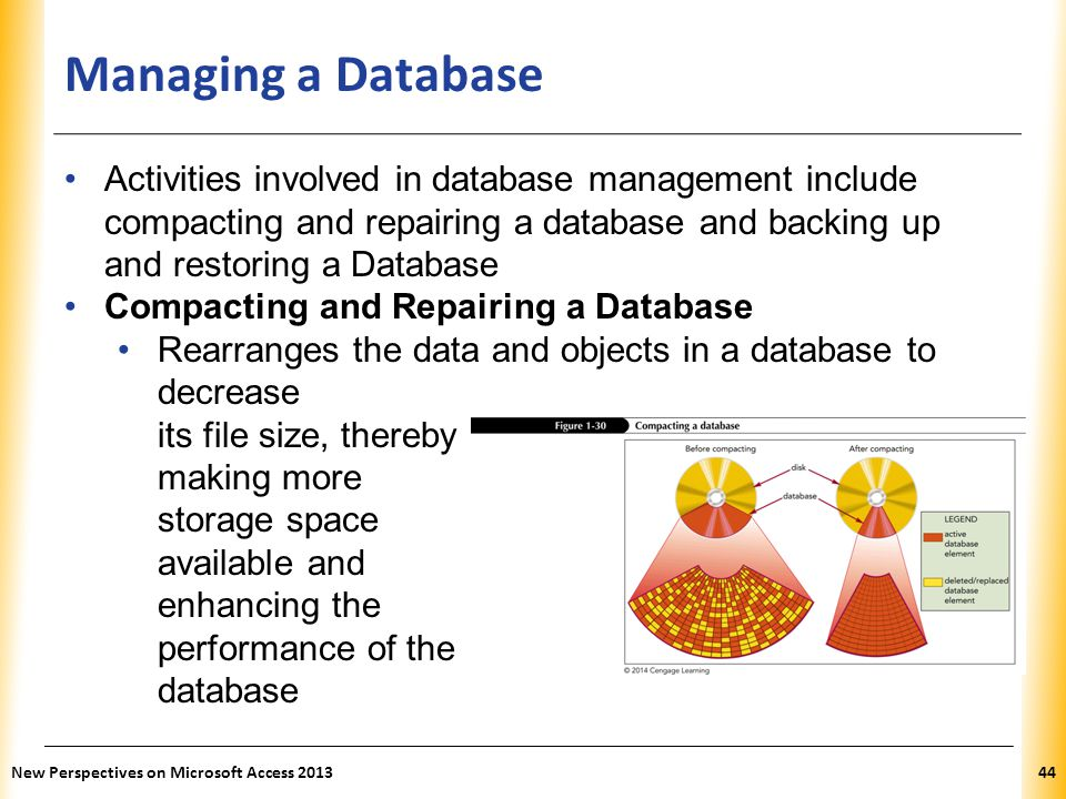 Managing a Database Activities involved in database management include compacting and repairing a database and backing up and restoring a Database.