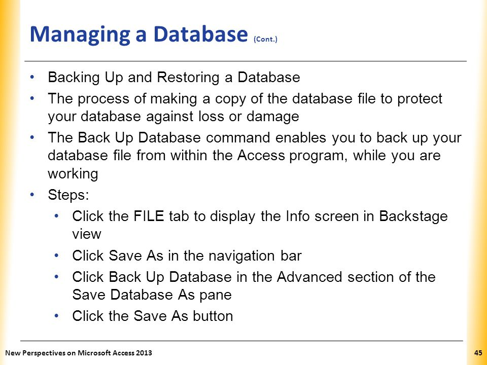 Managing a Database (Cont.)