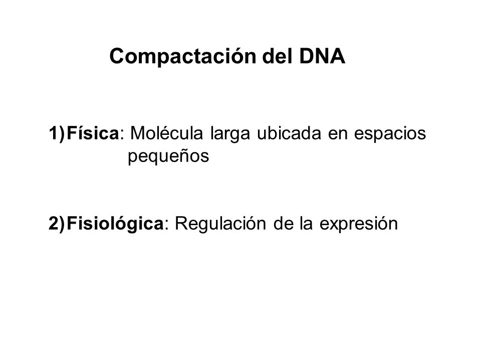 Compactación del DNA Física: Molécula larga ubicada en espacios