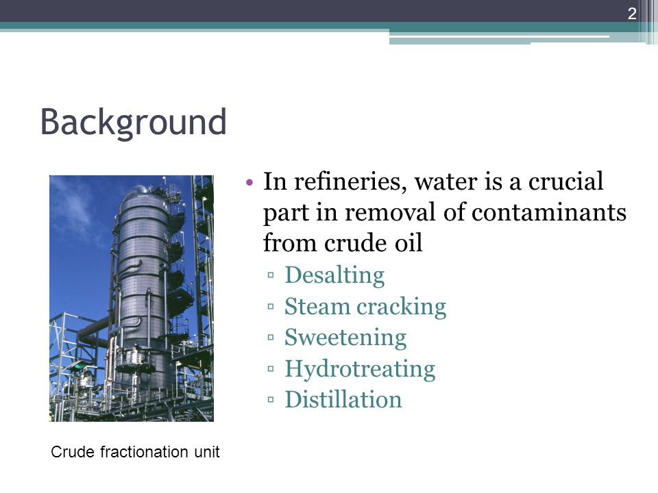 Background In refineries, water is a crucial part in removal of contaminants from crude oil. Desalting.