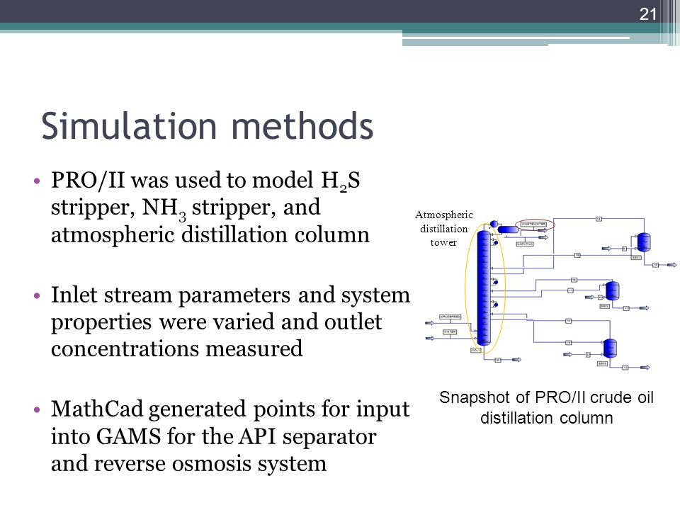 Simulation methods PRO/II was used to model H2S stripper, NH3 stripper, and atmospheric distillation column.