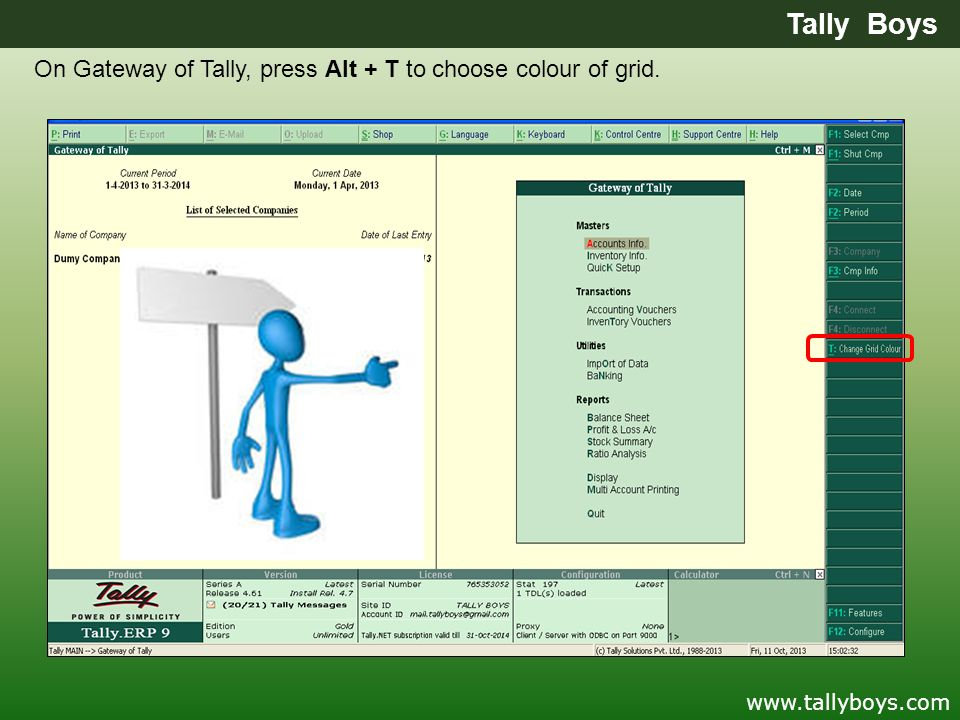 Tally Boys On Gateway of Tally, press Alt + T to choose colour of grid. www.tallyboys.com
