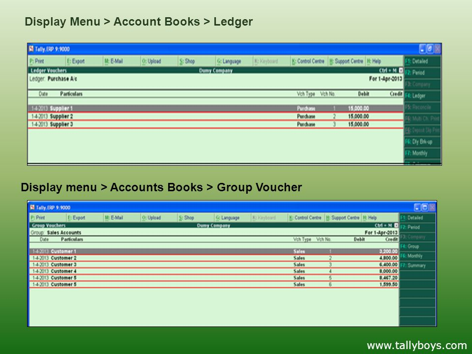 Display Menu > Account Books > Ledger