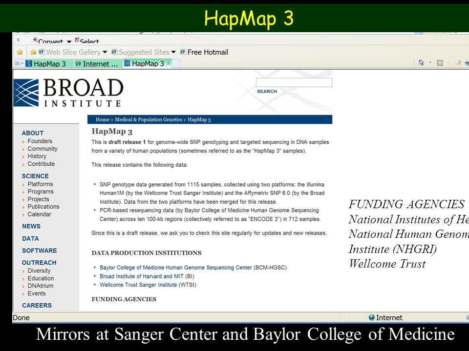 HapMap 3 Mirrors at Sanger Center and Baylor College of Medicine
