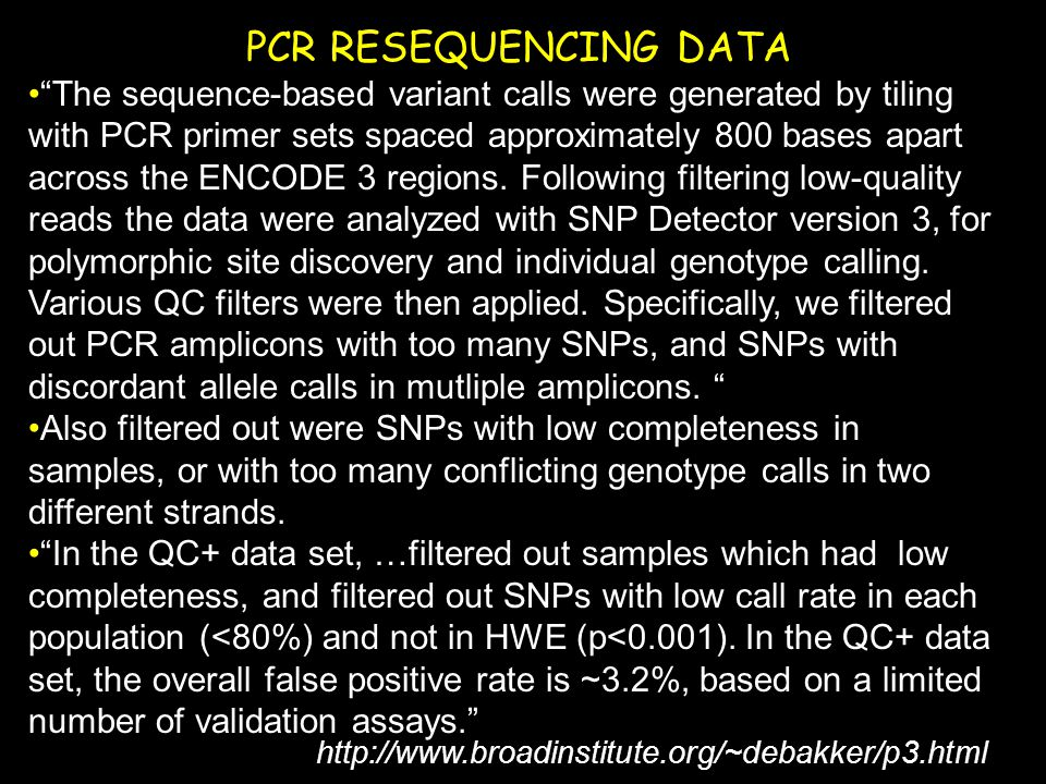 PCR RESEQUENCING DATA