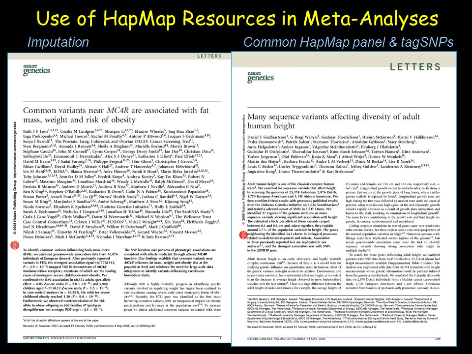 Use of HapMap Resources in Meta-Analyses