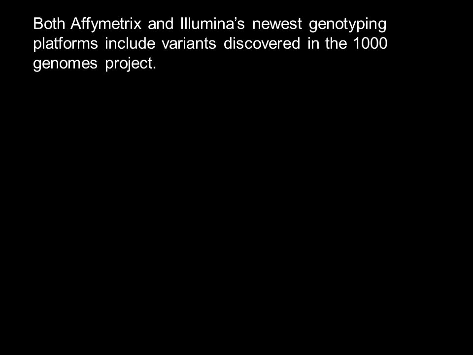 Both Affymetrix and Illumina's newest genotyping platforms include variants discovered in the 1000 genomes project.