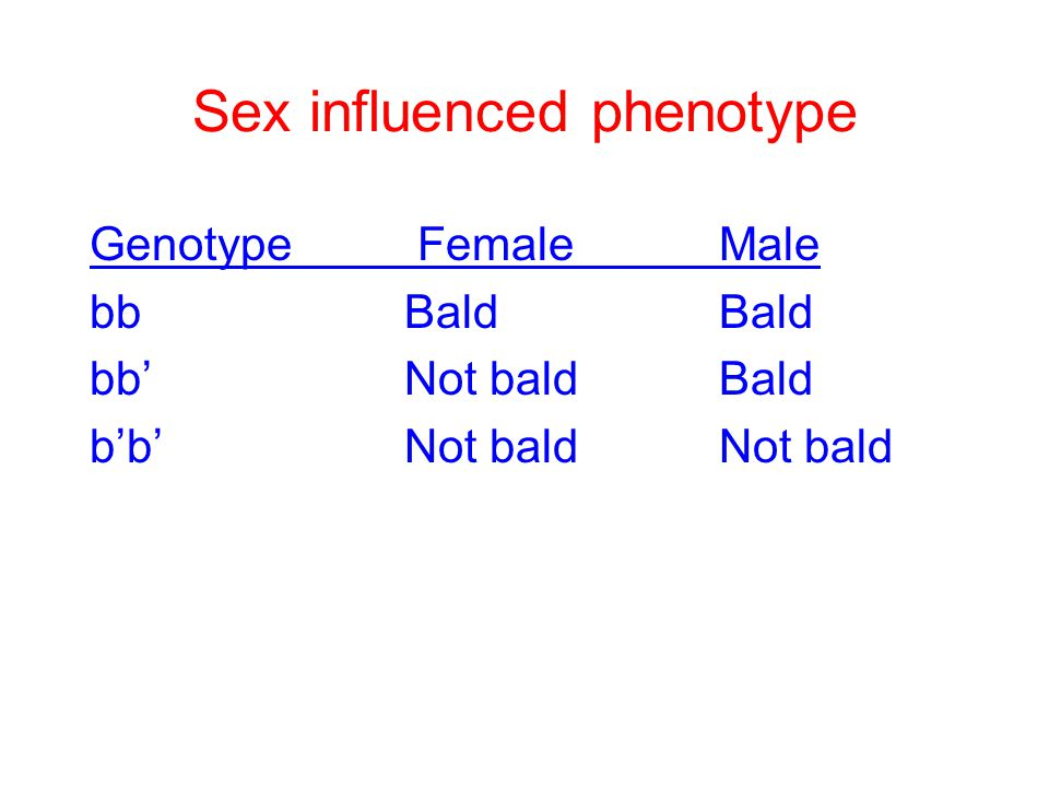 Sex influenced phenotype