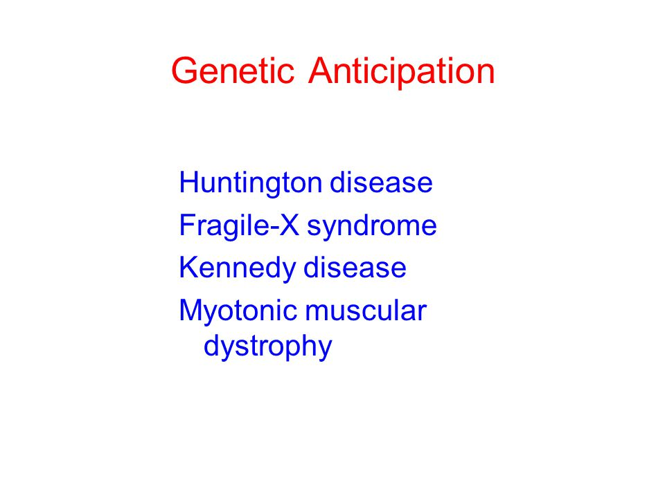 Genetic Anticipation Huntington disease Fragile-X syndrome