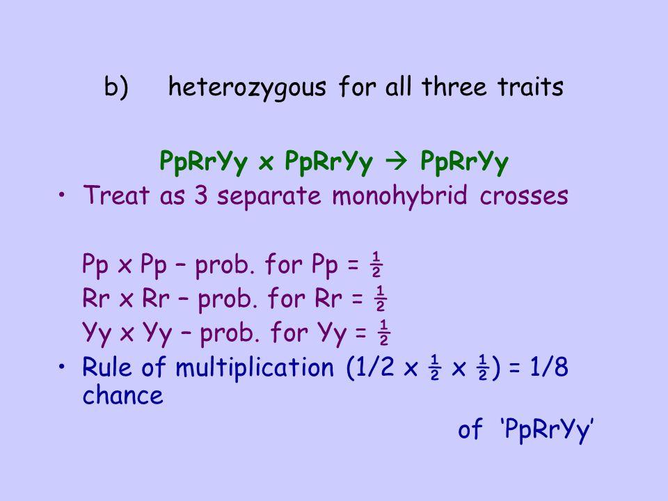 b) heterozygous for all three traits