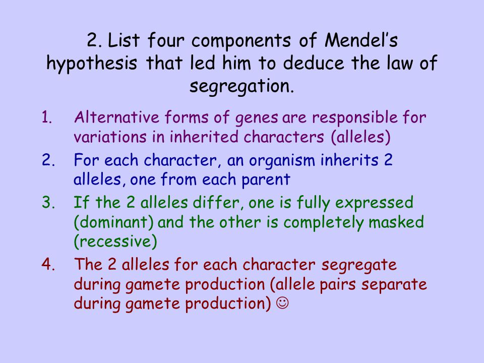 2. List four components of Mendel's hypothesis that led him to deduce the law of segregation.