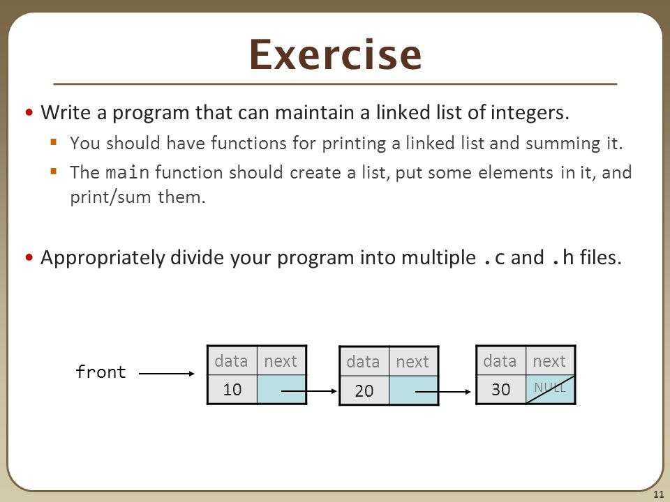 Exercise Write a program that can maintain a linked list of integers.