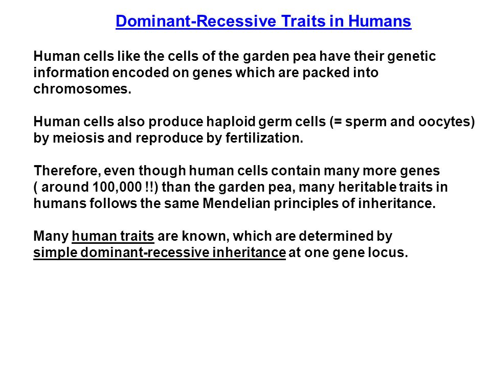 Dominant-Recessive Traits in Humans