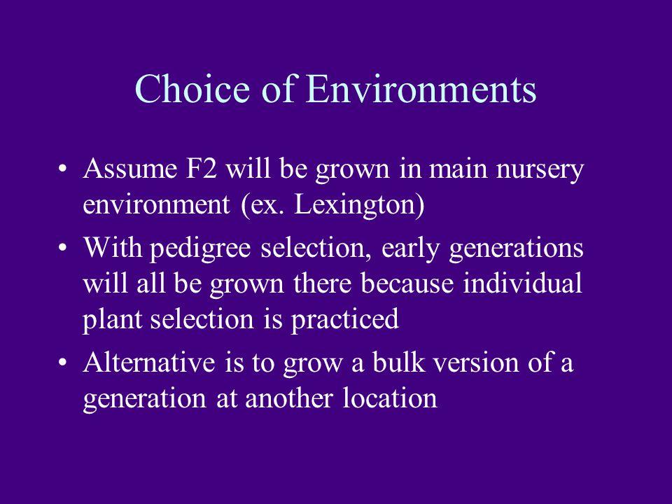 Choice of Environments