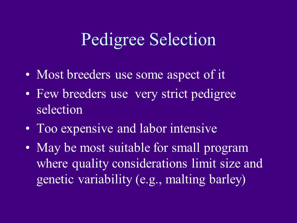 Pedigree Selection Most breeders use some aspect of it