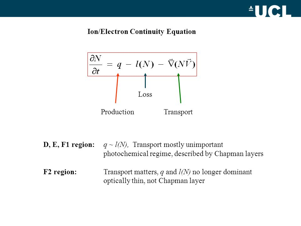 Ion/Electron Continuity Equation
