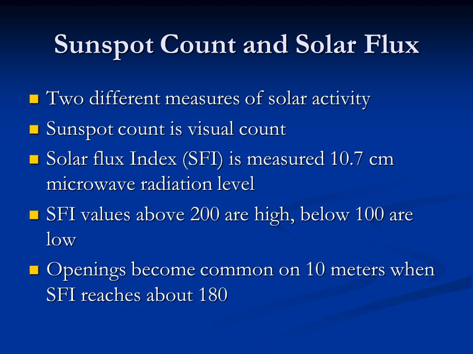 Sunspot Count and Solar Flux
