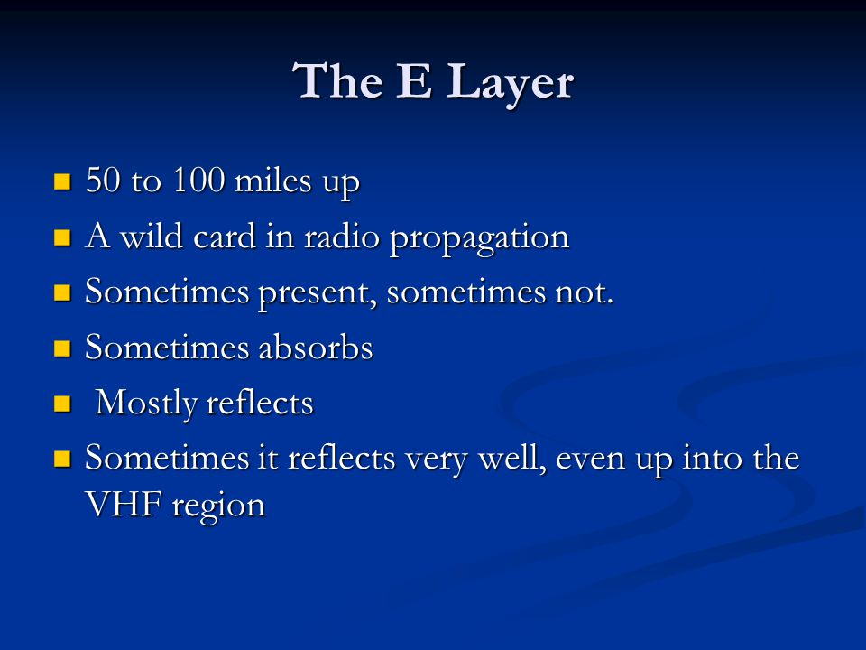 The E Layer 50 to 100 miles up A wild card in radio propagation