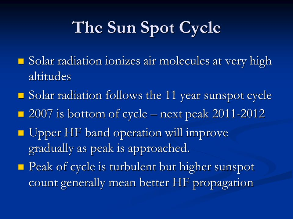 The Sun Spot Cycle Solar radiation ionizes air molecules at very high altitudes. Solar radiation follows the 11 year sunspot cycle.