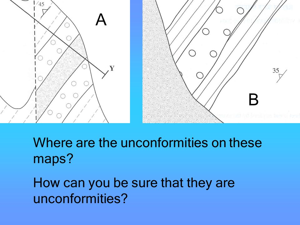 A B Unconformities Where are the unconformities on these maps