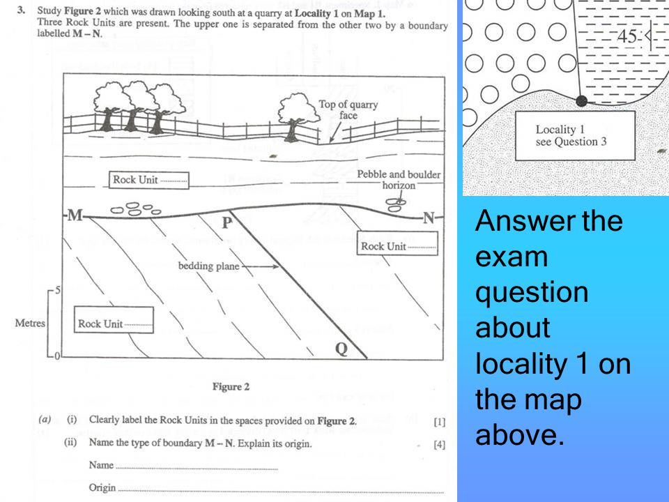 Answer the exam question about locality 1 on the map above.