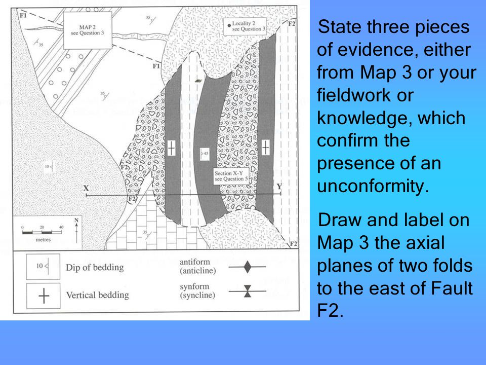 State three pieces of evidence, either from Map 3 or your fieldwork or knowledge, which confirm the presence of an unconformity.