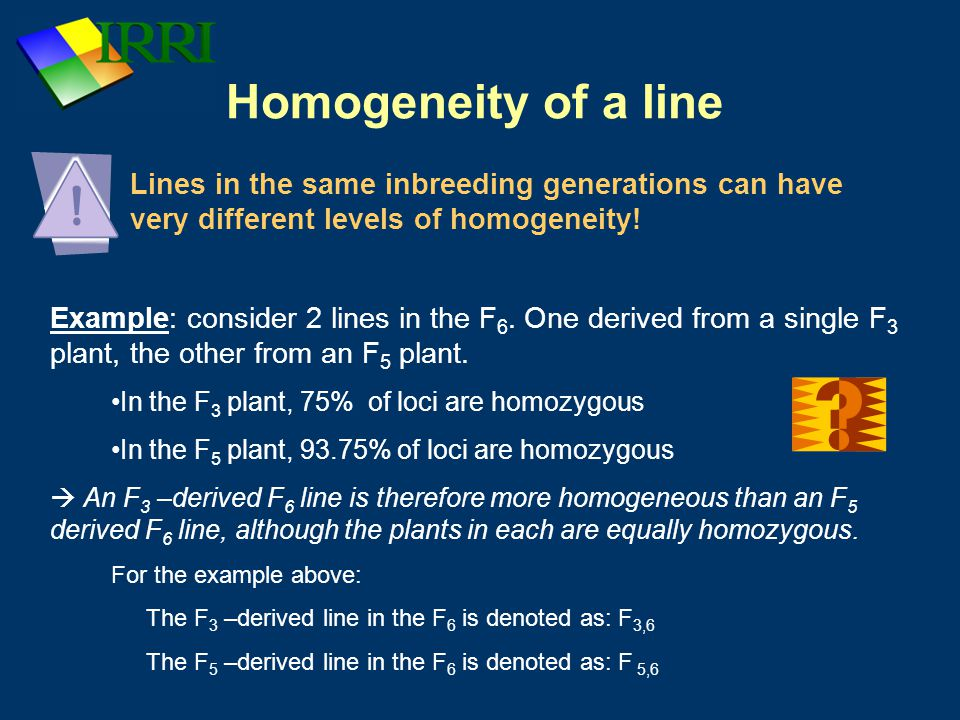 Homogeneity of a line Lines in the same inbreeding generations can have very different levels of homogeneity!