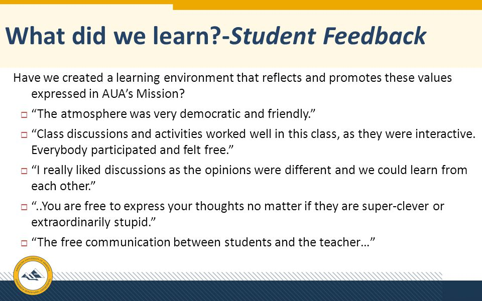 What did we learn -Student Feedback