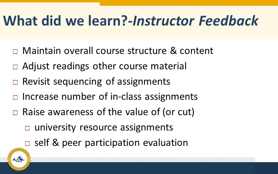 What did we learn -Instructor Feedback