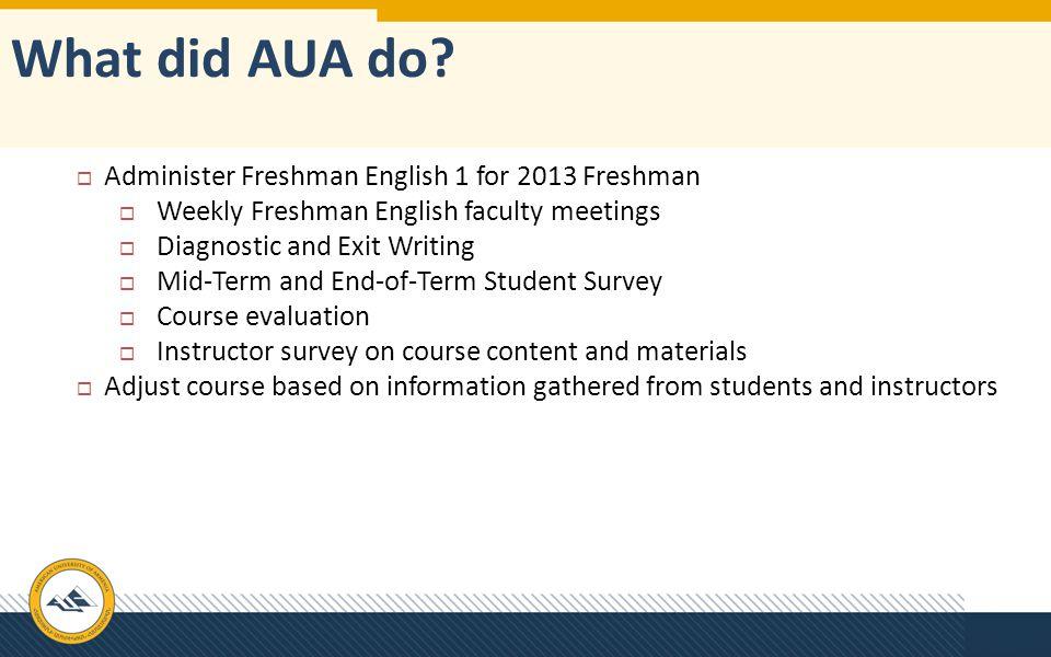 What did AUA do Administer Freshman English 1 for 2013 Freshman